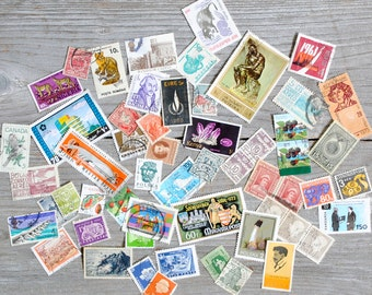 Lot of 50 Vintage Postage Stamps - Assorted Countries & Years