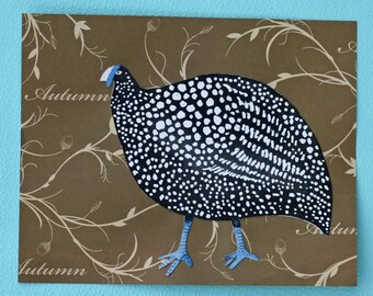 Spotted turkey original watercolor, black and white, autumn, large bird, pheasant, polka dots, brown and blue