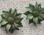 Vintage Curtain Pins Pair Green Metal Flowers
