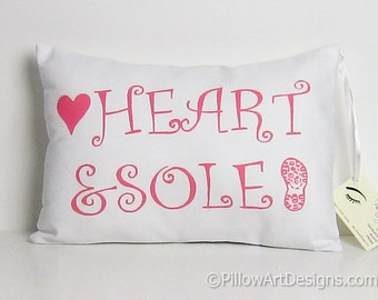 Marathon Runners Decoration Pillow Heart and Sole Sports Ornament Made in Canada Ready to Ship