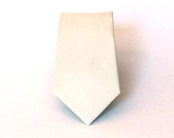 Men's Tie - Cream Solid - Ivory Off White Necktie