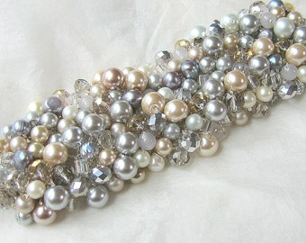 SILVER BLUE GREY Champagne Gold, Ivory, Pearl Crystal Wide Cuff Bracelet, Winter Wedding, Hand Knit Sereba Designs