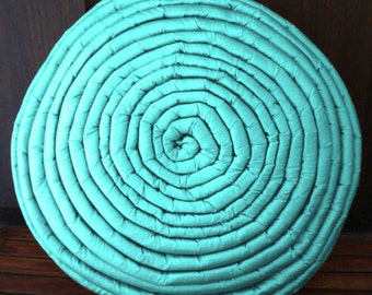 home decor blue round pillow  circle stripe filled cushion in size 16inches diameter with filler included-modern pillow-accent pillow.