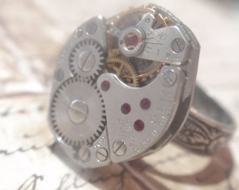 Steampunk Ring Clockwork Mechanique OX Silver  Adjustable SIZE 6.5 - 10  Up Cycled repurposed ring CR 6
