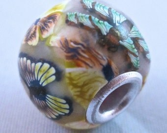European Grommet Bead, Polymer Clay Bead, Butterfly Bead, Floral, Millefiori, Handmade, Lacy, Yellow, Custom Jewelry, Pansy, Wearable Art