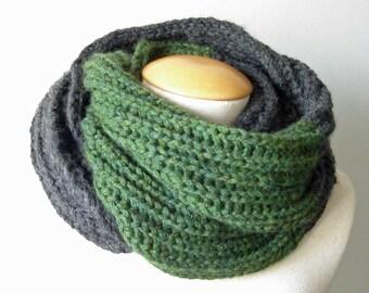 Grey green infinity scarf cowl