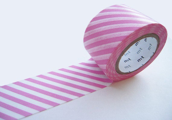 MT 2012 New-Wide Japanese Washi Masking Tapes / Pink Diagonal Stripes 30mm for invitations, party favor, packaging, decoration