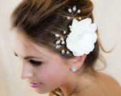 Gardenia Hair flower with natural pearls and crystals - hair clip comb wedding headPiece  Fascinator - creme cream Rhinestone hair comb HF1