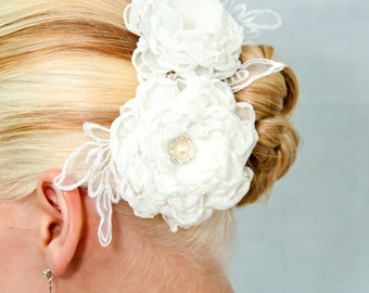 Chiffon sheer flowers hair clip for wedding reception bridal party  wedding hair piece - 2 peonies - on sale