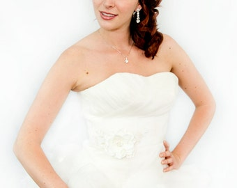Bridal Clutch - hand beaded champagne satin with beads and sequins