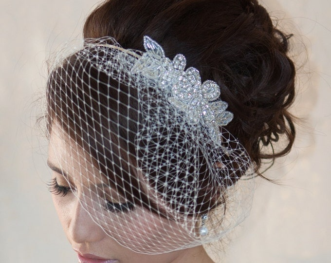 Featured listing image: Wedding Birdcage Veil  with Crystal rhinestone applique VI04