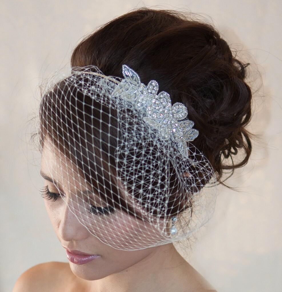 Wedding Birdcage Veil With Crystal Rhinestone Applique VI04