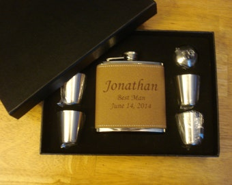 GROOMSMEN FLASKS - 8 Personalized Leather Flask Gift Sets  -  Great gifts for Best Man, Groomsmen, Father of the Groom, Father of the Bride