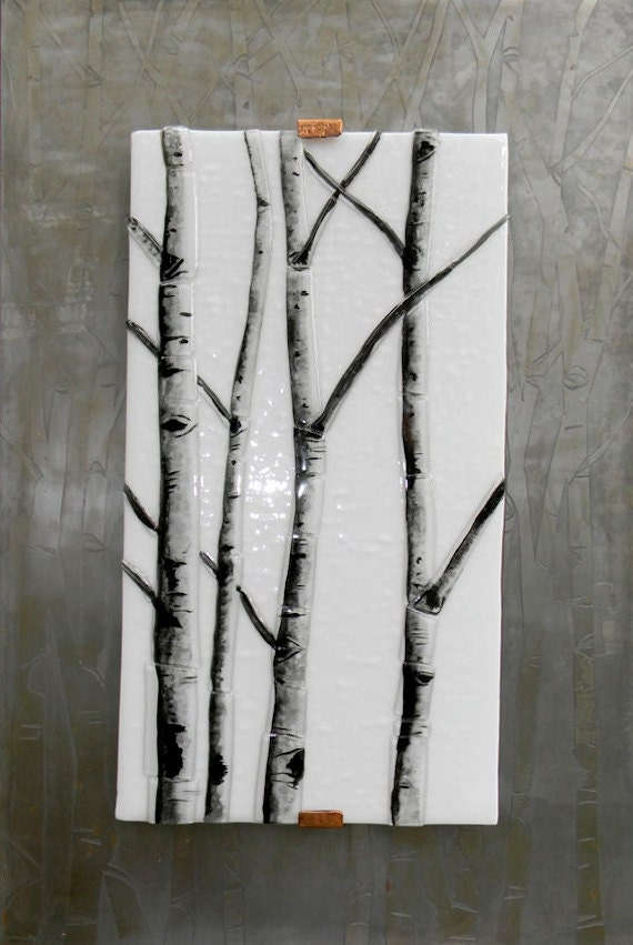 Wall Art Fused Glass : Winter aspen fused glass wall art by mountindesigns on etsy