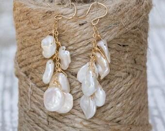 Keishe Pearl Earrings | Bridal Earrings | Cascading Earrings | Pearl Jewelry | Beach Wedding |