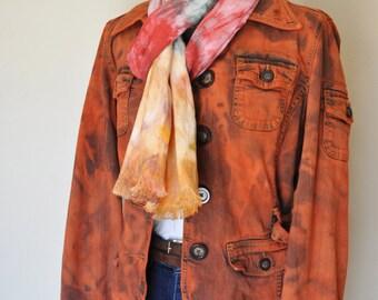 """Orange Medium Denim JACKET - Orange Pumpkin Hand Dyed Upcycled Mossimo Denim Trench Jacket - Adult Womens Size Medium (44"""" chest)"""