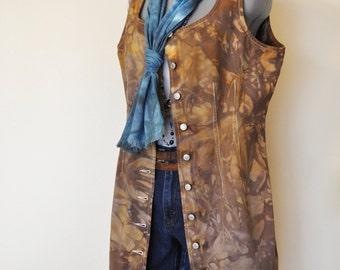 "Brown Large Denim DRESS  - Hand Dyed Brown Dockers Denim Jumper Sun Vest Dress - Adult Womens Size Large (40"" chest)"