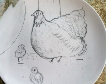 Personalized, Mamma Hen, Baby Chicks, Serving, China Cake Plate with Dome, Anniversary Gift, (Cake Plate and Dome Only)