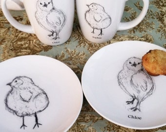 Personalized, Chicks, Mugs, Plates, Dishes, Serving, Baby Gift, Couples gift, Mr. and Mrs., Dessert Set (2 Mugs & 2 Plates Only)