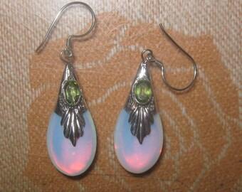 925 Sterling Silver Sea Opal Opalite Glass Peridot Teardrop Earrings