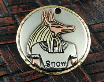 Egyptian Dog Custom ID Tag, Pet ID Tag, Personalized Dog Tag, Dog Tag for Dogs, Anubis