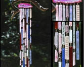 Recycled Beach Glass Inspired Wind Chimes - Pink Lotus