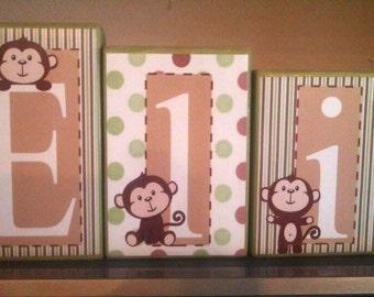 Elijah Collection Name Blocks - Monkey theme name blocks -