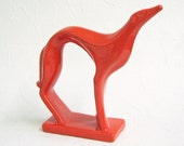 Customize Your Color - Ceramic Greyhound Mid Century Modern Design Minimalist Retro Dog Figurine Statue Shown in Tangerine - Made to Order