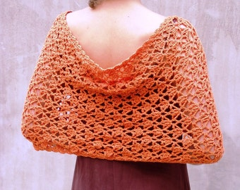 Amber infinity scarf, Infinity lace scarf, Orange crochet scarf, Lace crochet scarf,  Wrap lace scarf, Infinity wrap scarf, Mobius scarf,