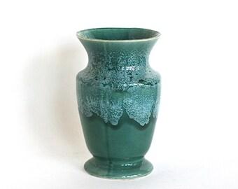 Vase, Ceramic Vintage Brush Pottery Green Onyx  Drip Glaze Vase Urn