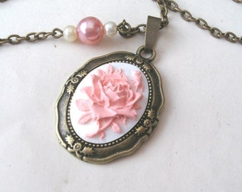 English Rose Necklace, Flower Necklace, Rose Cameo Necklace, Pink Rose Necklace with Faux Pearls