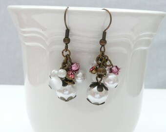 White Glass Pearl Cluster and Antique Gold Dangle Earrings