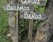 Set of 3 Spanish Wording Rustic Wood Wedding Directional Stake Signs Western Bridal With Arrow