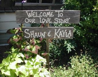 Personalized Wedding Sign on Stake Barn Wood Western Rustic Bridal Custom Name