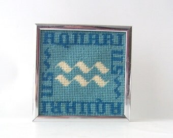 vintage zodiac aquarius cross stitch wall hanging picture framed blue navy white crossstitch art astrology astrological sign retro modern