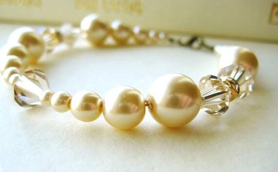 ON SALE Champagne Bridal Bracelet - pearl, single strand, crystal, rhinestone, gold, antique brass, vintage, old hollywood
