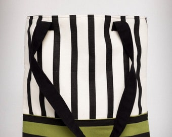 Black, Cream, Green Striped, Screen Printed Fabric Tote, Original Fabric Shoulder Bag