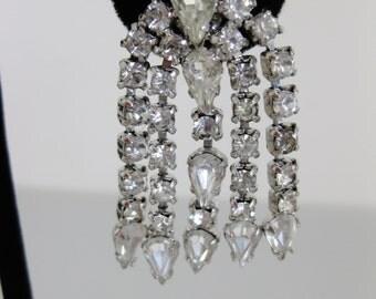 Vintage 1960's Clear Rhinestone Chandelier Earrings