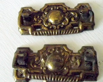 FALL SALE Brass Drawer Pulls As Is Set of 2