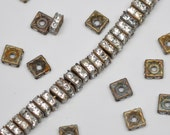 6mm Vintage Brass Square Rhinestone Squarelles Spacer Beads 20 or 50 Pieces