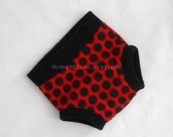 Large Ladybug Ladybird Fleece Diaper Underpant Cover / Soft Underpant,  Red Black Polka Dot , Ready to Ship Halloween Photo Prop Costume