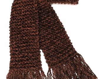 Brown Scarf, Long Chunky Knit Scarf, Knitted Winter Scarf, Men or Women, Hand Knit Dark Brown Scarf, Chocolate Brown Scarf