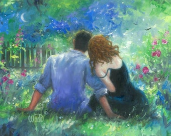 Garden Lovers Redhead Art Print, loving couple paintings, red haired lady, couples in love, romance paintings, green, blue, Vickie Wade Art