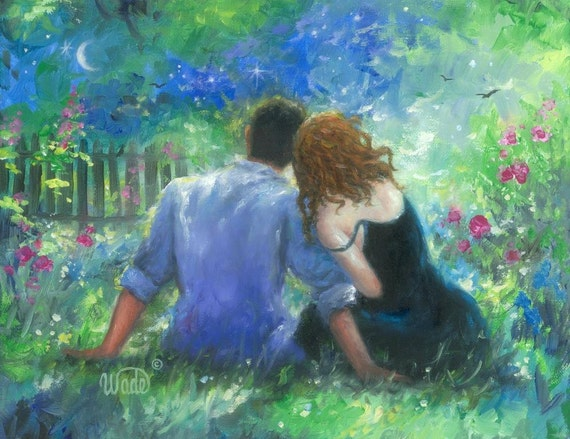 Love couple Painting Wallpaper : Garden Lovers Art Print loving couple paintings anniversary