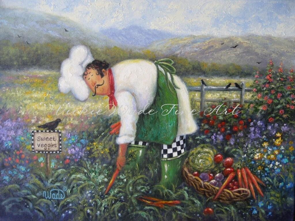 Chef Garden: Garden Chef Art Print Chef Paintings Fat Chefs Chef Art