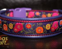Handmade Easy Release Buckle Leather Dog Collar SUNSHINE FLOWER by dogs-art in electric purple/burgundy/purple