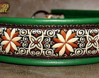 Handmade Martingale Chain Leather Dog Collar PINWHEEL ZINNIA by dogs-art in green/brown/creme-brown