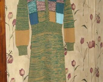 vintage  1970  patchwork     hippie sweater dress  size 5-6