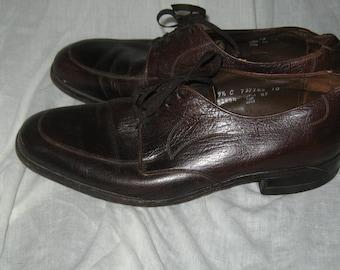 vintage retro  60s  brown leather  the florsheim mens  shoes  size 9 1/2 c
