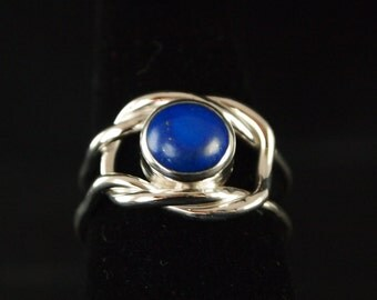 Sterling Silver and Lapis Knot Ring Size 9